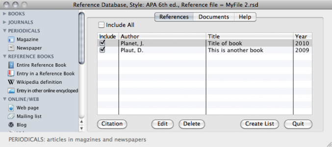 The APA Reference Database were you enter references, create citations and start new documents.