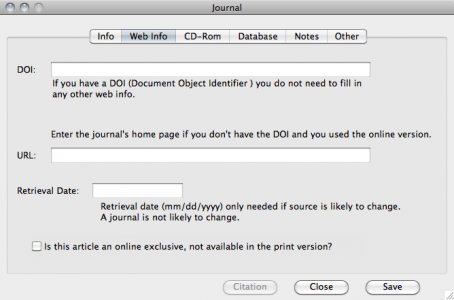If the journal was found on the web enter any pertinent info on the web info tab, including doi info.