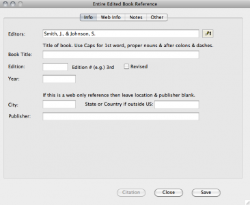 This is the screen for entering info about a book reference.